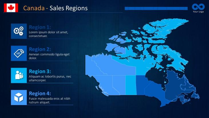 Canada Map Sales.Canada Maps Powerpoint Template Slide In A Box