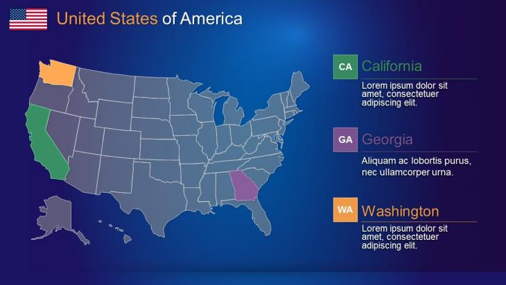 USA Maps PowerPoint Template | Slide in a Box Powerpoing Usa Map Template on